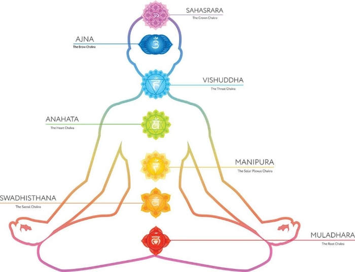 The seven chakras represent energy centers of the body. Melina uses the chakras as a helpful map when tapping into a client's energy during a treatment.