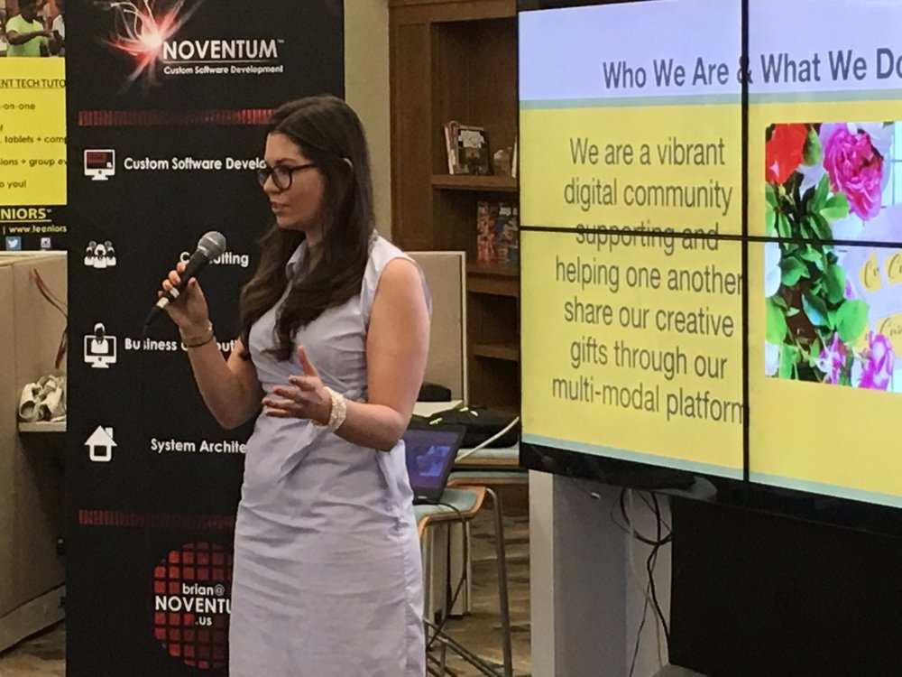 Founder & CEO Erin E. Barrio presenting at 1 Million Cups Albuquerque