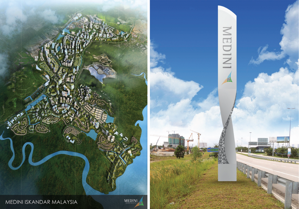 TOP LEFT: Map of Medini—a vision of the future. As of 2017, there are two completed office buildings in the central district, plus Legoland and a Wellness township in the northern sector. Many condominiums and retail spaces are currently under construction.    TOP RIGHT: Our design team created several digital prototypes for the city's signs.