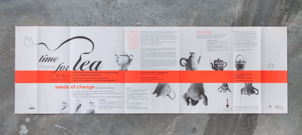 Leaflet front (open), printed in two colours, Black and Brilliant Fluorescent Orange.
