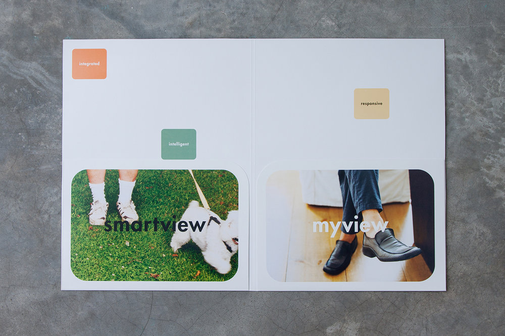 Product folder, open with two pockets. Photographic images are styled according to hp's global identity, portraying an ordinary slice of everyday life.
