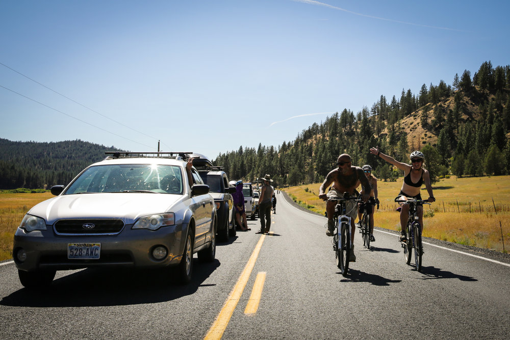 Symbiosis Oregon Eclipse Festival-goers make the most of a 20-mile traffic backup to enter Big Summit Prairie in Central Oregon on Aug. 16, 2017.  Roads across the state were expected to face intense traffic in the days leading up to the eclipse on Aug. 21.