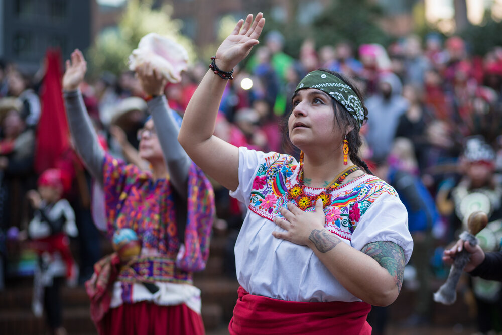 A woman dances during a ceremony at the Indigenous Womxn's March in Portland, Ore. on Sunday, Jan. 21, 2018. The march honored DAPL Protester Red Fawn Fallis, a political prisoner accused of shooting at law enforcement during protests against the Dakota Access oil pipeline. Fallis' trial was scheduled to begin Jan. 29, 2018.