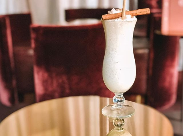 Eggnog-Colada. Classic American Eggnog served blended & chilled with nutmeg, cinnamon and @woodfordreserve whiskey. Yes please! #woodfordreserve  #woodfordnz #ogbplacetobe #parlour #whiskey