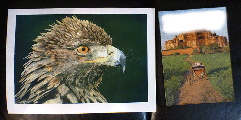 Example of an A3 sized Giclee print next to a magazine.