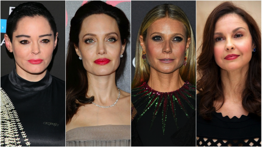 From left to right: Rose McGowan, Angelina Jolie, Gwenyth Paltrow and Ashley Judd. Some of the many high-profile Hollywood stars coming forwards with accounts of harassment by Weinstein.   Photo Credit:    sheknows.com