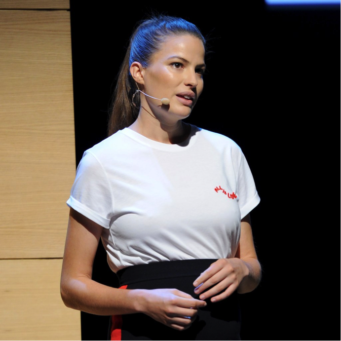 Model Cameron Russell speaks on sexual abuse in the fashion industry at 'Glamour' Women of the Year Live Summit.   Photo Credit:    glamour.com
