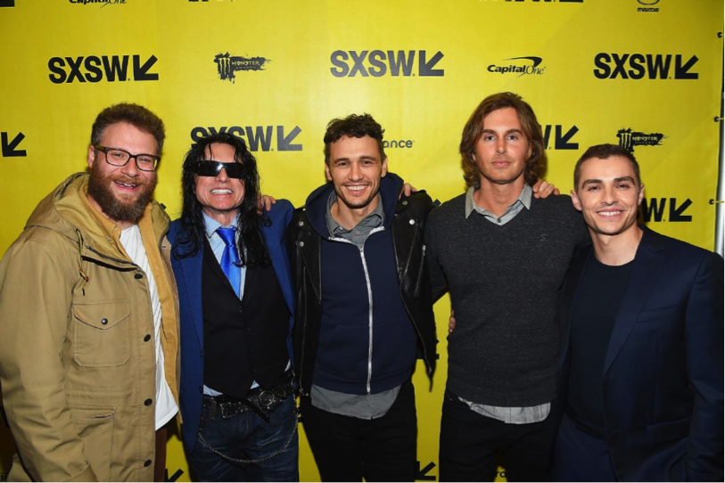 From left to right: Seth Rogan, Tommy Wiseau, James Franco, Greg Sestero, Dave Franco.