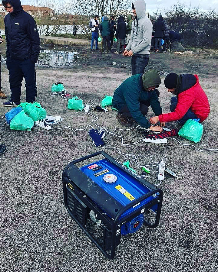 They brought a generator which the refugees could use to charge their phones
