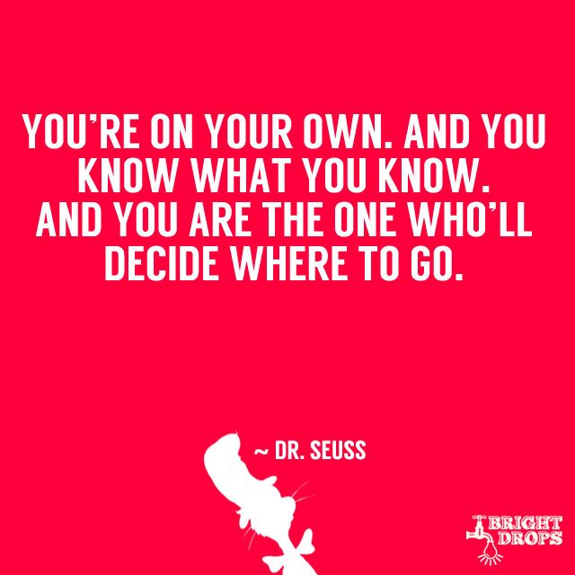 "Dr Seuess quote - ""You're on your own. And you know what you know. And you are the one who'll decide where to go."""