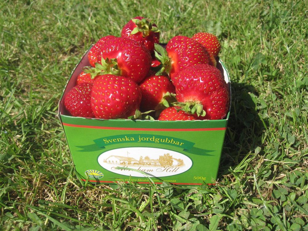 Ni känner igen våra jordgubbar på vår egen literkartong.