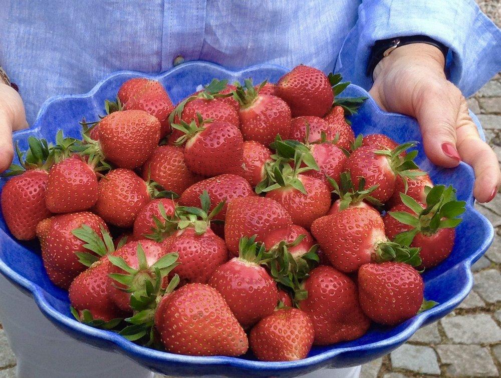 Jordgubbar innehåller mängder av nyttiga ämnen. De är också vackra att duka med.