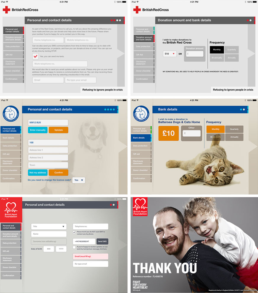 Some examples of the application being customised per client