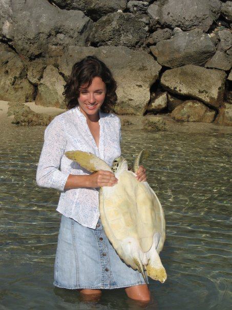 Me releasing a tagged green turtle for the Bermuda Turtle Project.