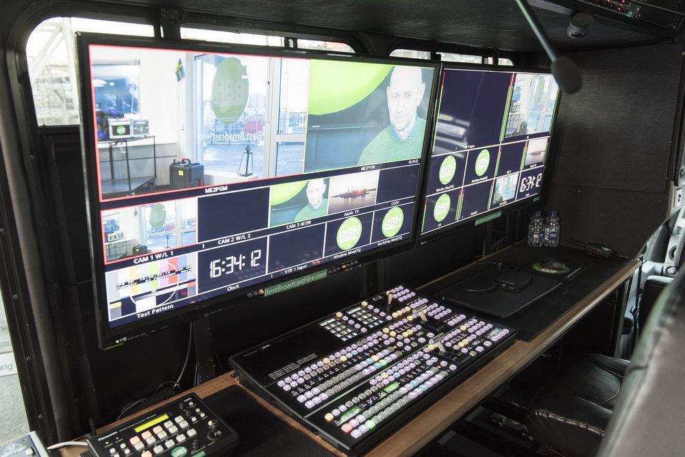 I kontrollrummet i The Hawk finns Panasonic-mixern, kamerakontroller och ljudbord. I taket hänger rör för att enkelt konfigurera ljus och positioner för fjärrkamerorna efter önskemål.