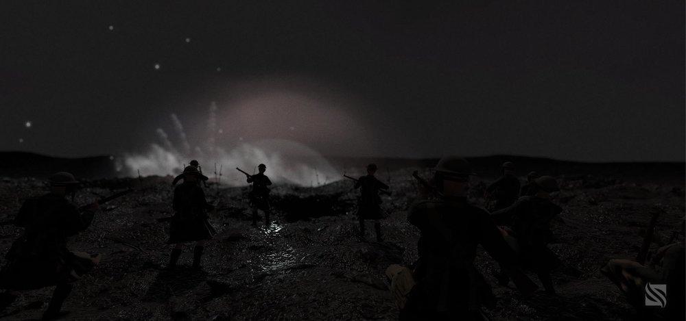 Slaget vid Vimy i Frankrike 1917, en VR-upplevelse utförd av SimWave åt The Canadian War Museum i Ottawa. Byrån ville att upplevelsen skulle vara så realistisk som möjligt. VR-båset skakar när det sker explosioner och det strömmar lukter av jord, krut och damm från gastuber. Foto: SimWave.