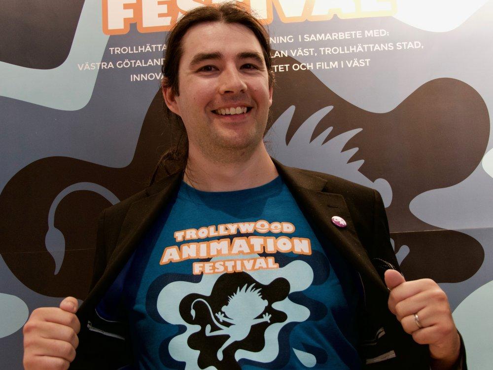 Ben Mowbray, en av arrangörerna och ordförande i Trollhättans Animation Association. Han kom till Sverige för över 15 år sedan och driver nu sitt bolag 2nd Dynasty.