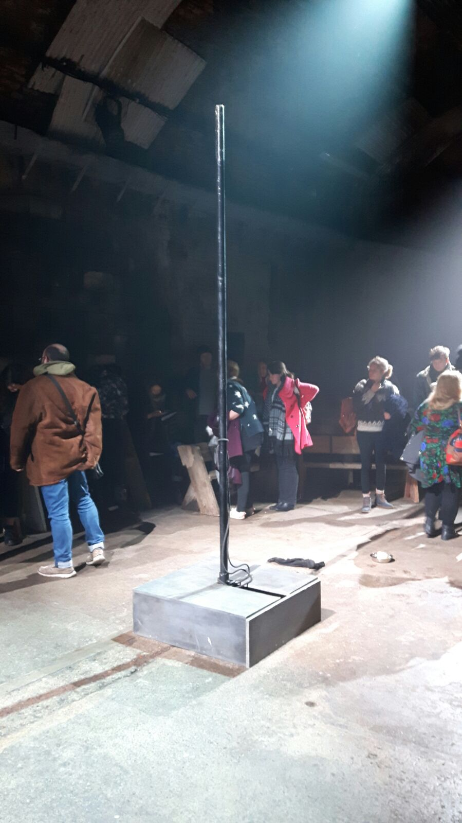 The pole our soldier is tied to at the start of the show and also the set