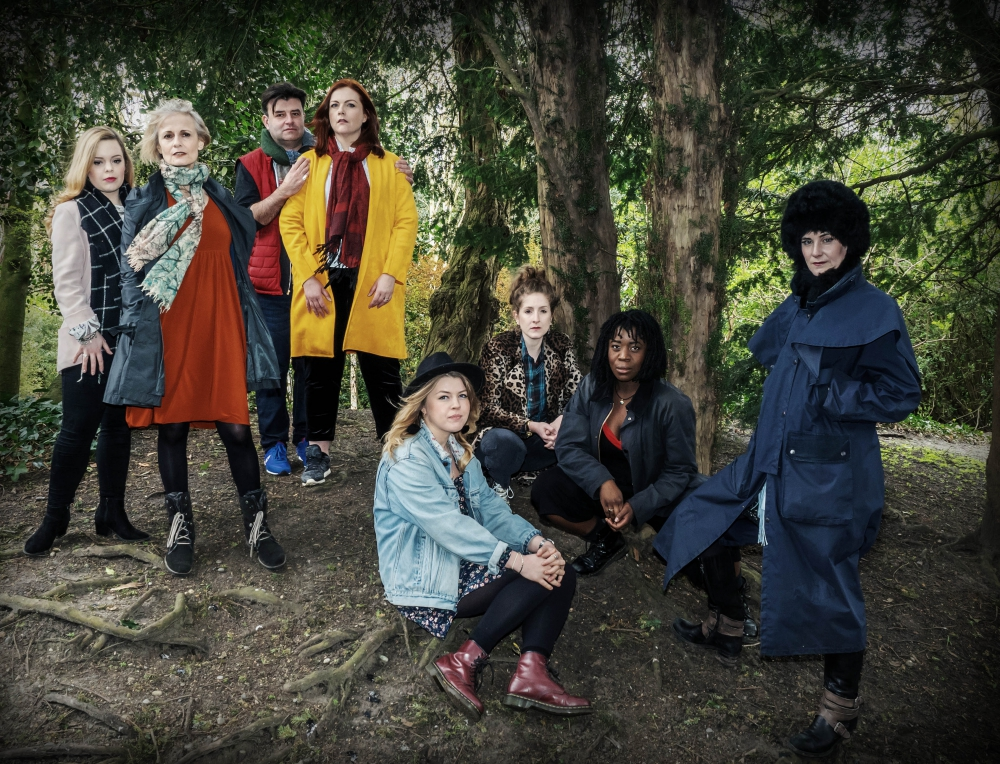 L-R Lucinda (Francesca Pim), Evil Step Mum (Mary Lincoln), Baker and his Wife (Tim McArthur and Jo Wickham), Cinderella (Abigail Carter-Simpson), Jacks Mother (Madeleine MacMahon), Little Red Riding Hood (Florence Odumosu) The Witch (Michele Moran)