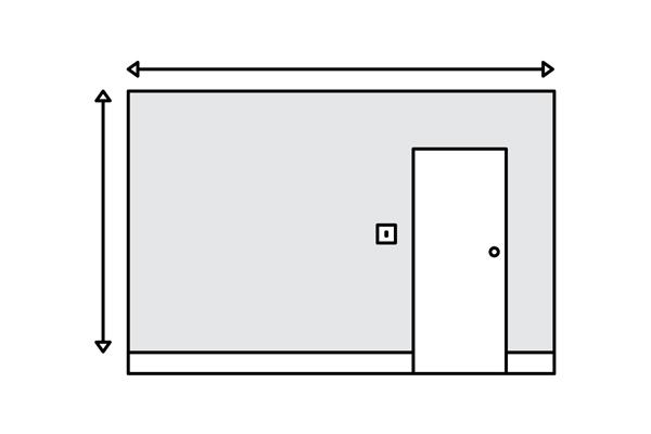 ЅИД СО ВРАТА; ПРОЗОР ИЛИ ДРУГ ЕЛЕМЕНТ  На ваков ѕид потребно е да ја измериш повисоката и подолгата страна на ѕидот и да не изместиш за елементите кои ги има на ѕидот. Во понудата ќе се смета вкупната површина, а остатокот од фолијата ќе се отсече во печатница или на лице место, во зависност од димензиите. Точните димензии на елементите кои се наоѓаат на ѕидот ќе ги измери нашиот тим.