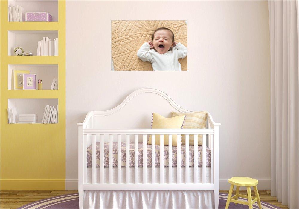 newborn canvas wall display | Philly newborn photographer