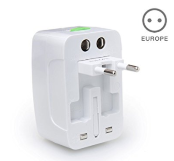 Universal Travel Charger & Adapter - This Universal charger works in every outlet in the world. I've had some in the past that have all but caught on fire and have had such success with these. I still wouldn't leave anything charging while you're not in the room just to be safe. Buy a few so you don't have to share!