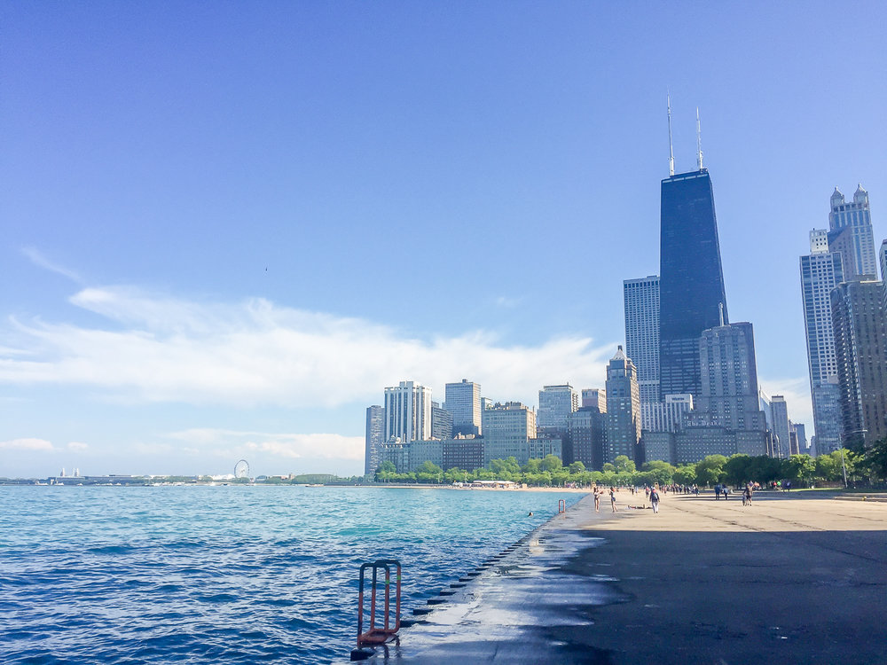 Walking along the lake front from North Ave. beach to Oak St. beach