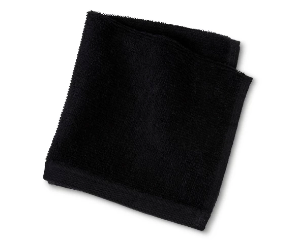 "Black Washcloth - Austin and I stayed at a hotel once that had black washcloths with ""make up remover"" embroidered on them and my mind was blown. Obviously, I was doing it all wrong and had been ruining perfectly nice washcloths for years when taking my makeup off each day. These are so cheap and last so much longer because they aren't stained with my hard to remove mascara. Maybe I was clueless and everyone does this, but it never occurred to me!"