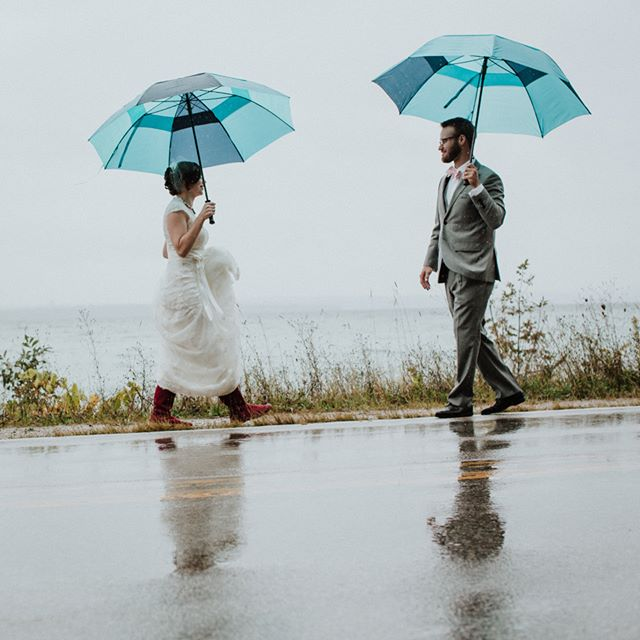 I'll meet you in the rain #oldmissionweddings