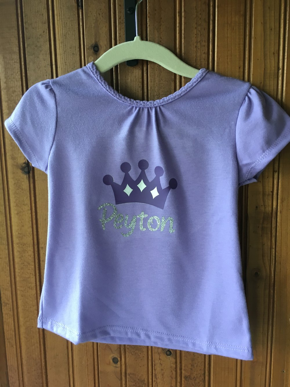 Personalize this shirt with the name of YOUR little princess in silver glitter. The tiara features silver diamonds. Available in toddler girl sizes 2T-4T. Other color combinations available. $15 Please allow up to one week for your custom order to be completed I offer pickup in Lake Mills, WI 7 days a week after your order is ready I also offer limited delivery (usually 1 day per week) in Lake Mills and Fort Atkinson Shipping is available throughout the United States