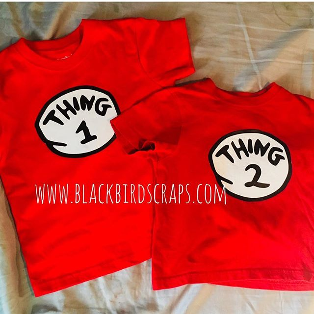 Latest creation for my littlest ones. I can make any number/s you wish!  #blackbirdscraps #custom #etsy #etsyseller #cricut #vinyl #siblings #matching #twinning #twins #siblingshirts #twinsshirts #drsuess #catinthehat #thing1thing2