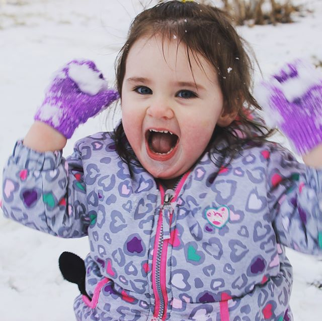 Her 14 year old big #sister asked if she could take #PeytonGrace out to play in the #snow I said ok just bring the camera. Love the bond my big kids have with my little kids (6 of 'em, ages 2-21). #play #toddler #letthenbelittle #shewouldnotkeepherhaton