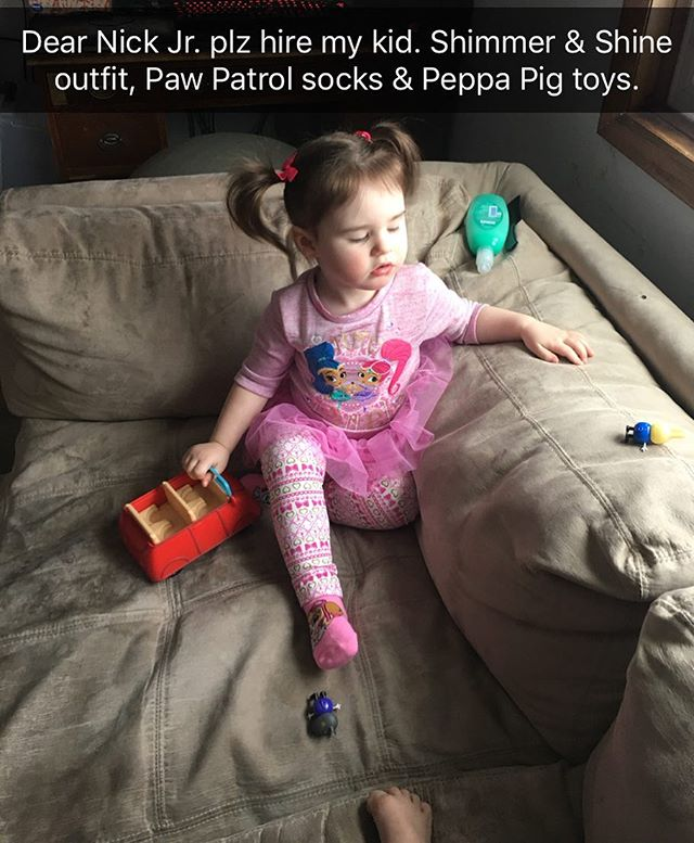 My @nickjr loving kid. She pronounces several words in a British accent thanks to Ben & Holly and Peppa 😂 #nickjr #peppapig #shimmerandshine #pawpatrol #toddler