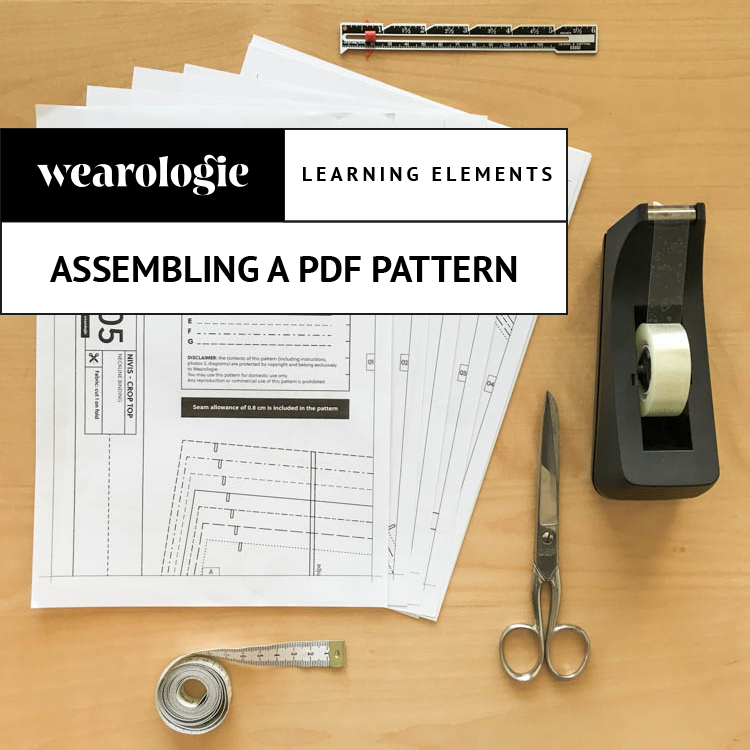 Learn how to easily assemble a pdf, print-at-home sewing pattern on Wearologie.com.
