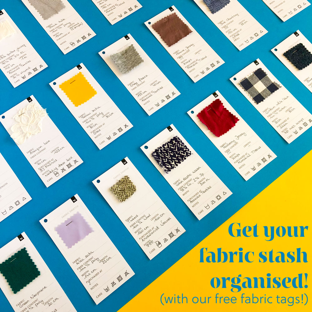 Get your fabric stash organised with our free fabric tags. Available on Wearologie.com