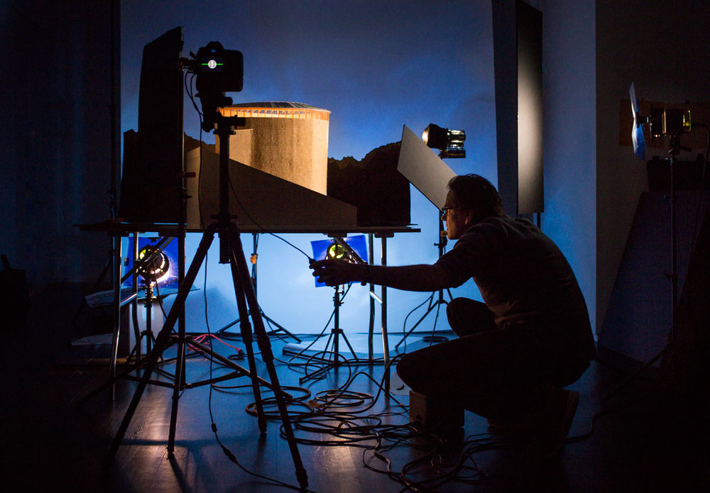 In the studio, photographing Zumthor model for Stagecraft exhibition. Photo: Nicholas Knight