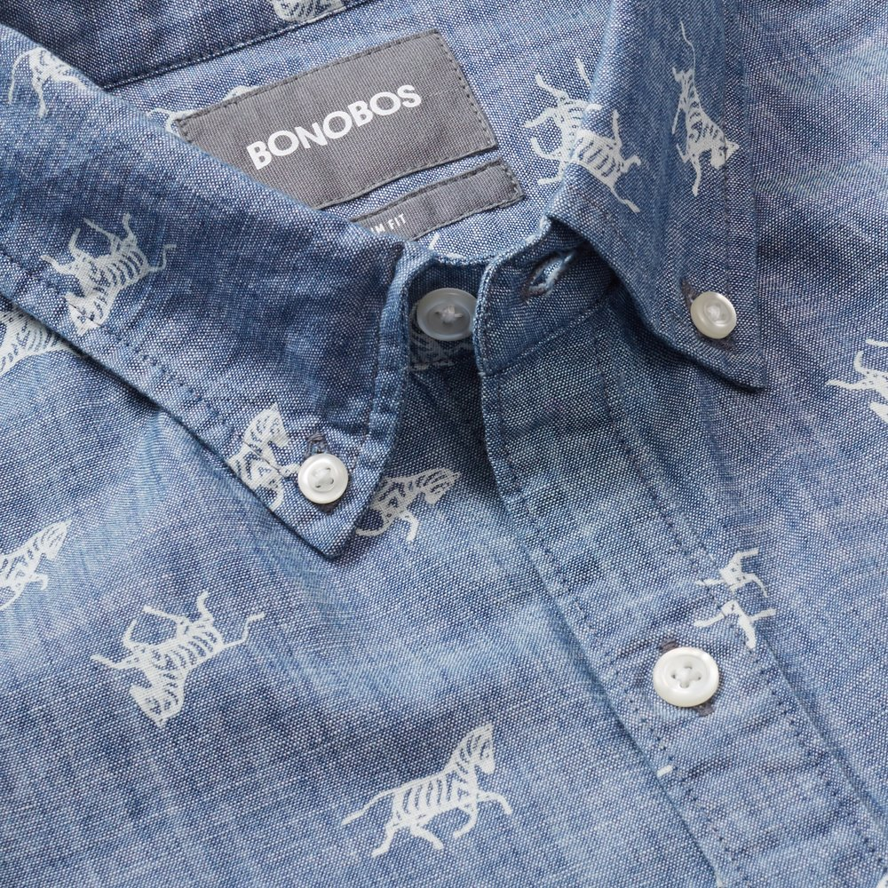 Riviera Short Sleeve Shirt - Chambray Wild Zebras - $88