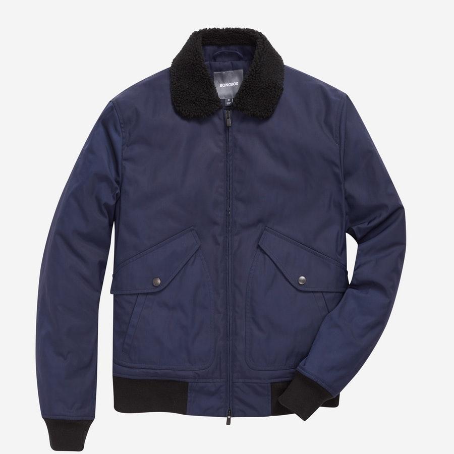 Shearling Bomber - Navy - $298