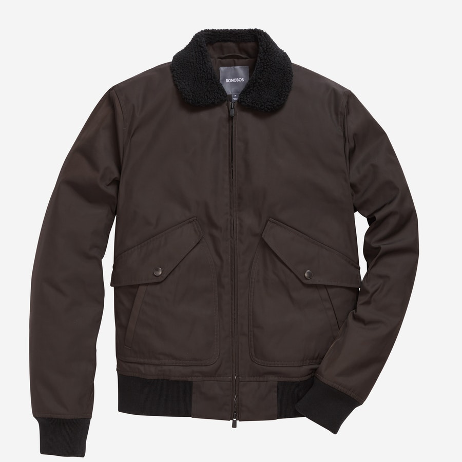 Shearling Bomber - Brown - $298