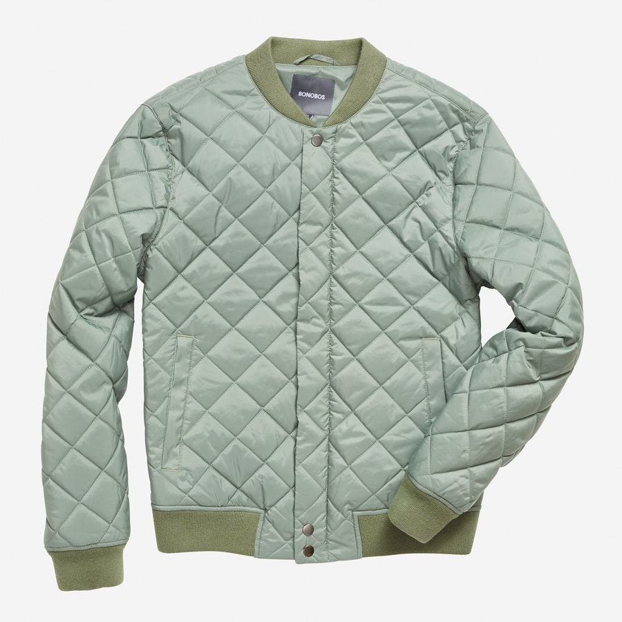 Quilted Bomber - Olive - $248