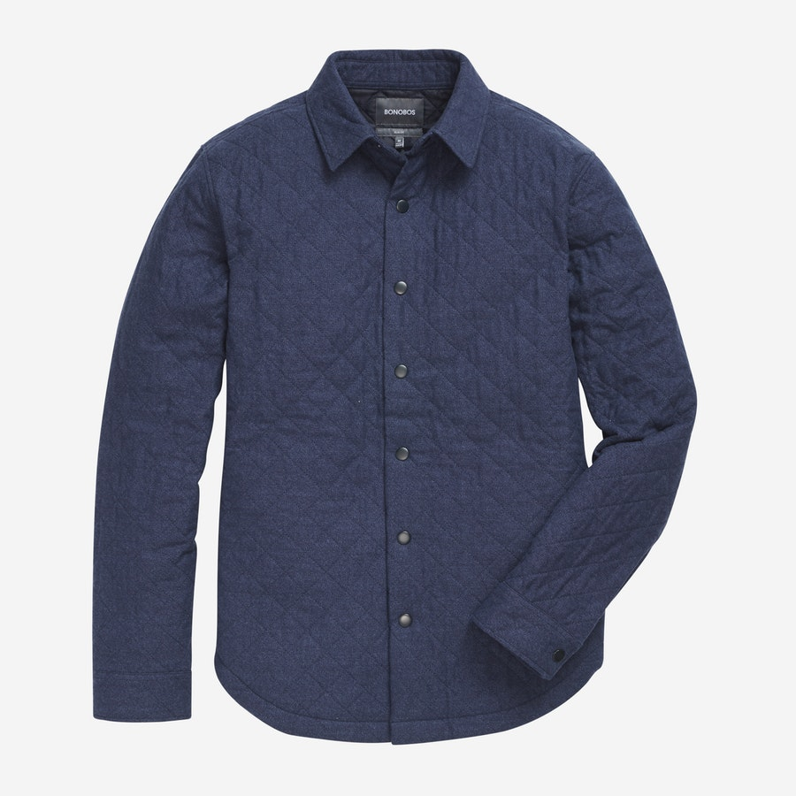 Quilted Shirt Jacket - Navy  - $198