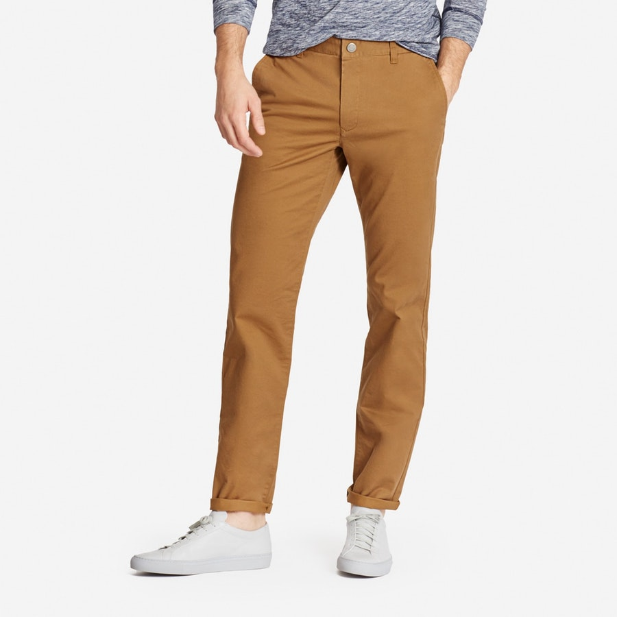 Stretch Washed Chinos - Chestnut - $98