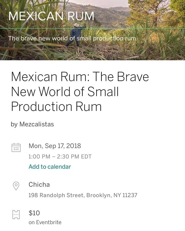 You like learning?  You like rumming?  We are cohosting a panel on Mexican rum this Monday! Link in profile  Our own @spirithouseconsultants will be there along with @mezcalistas @paranubes @thewinebowgroup @heavy_metl . Get your knowledge on.  #bushwick #rhum #rum #chichanyc