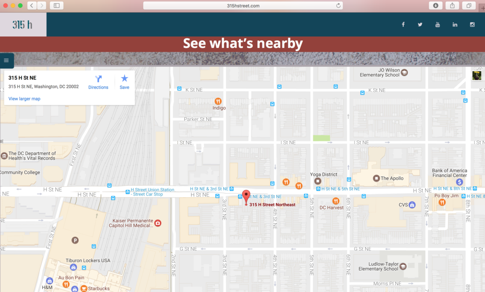 map   google map integration to highlight the space with what is nearby, like restaurants and metro access.