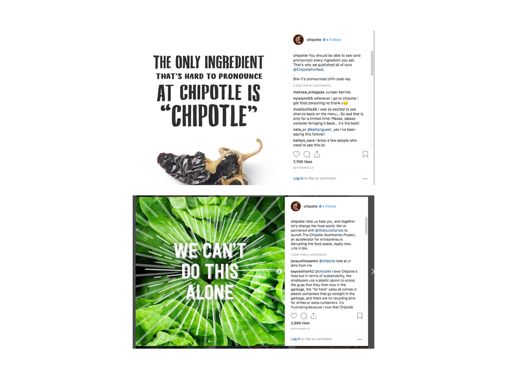 These two recent Instagram posts from Chipotle show how they are still keeping true to their vision to stand against mass market food. In the 2nd post you can see an example of how they are partnering with healthy food start up initiatives and providing funding to them.