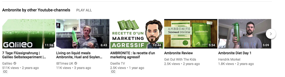 Ambronite has created a YouTube playlist that collects all its customers testimonials in one place. Their content isn't sexy, but it's independent and it is persuasive.