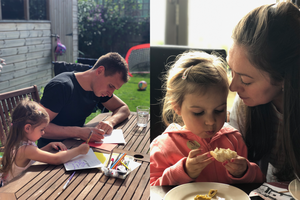 Me, my wife and my daughter drawing pictures, writing cards and having lunch on a sunny day in our garden in the Kent countryside :)