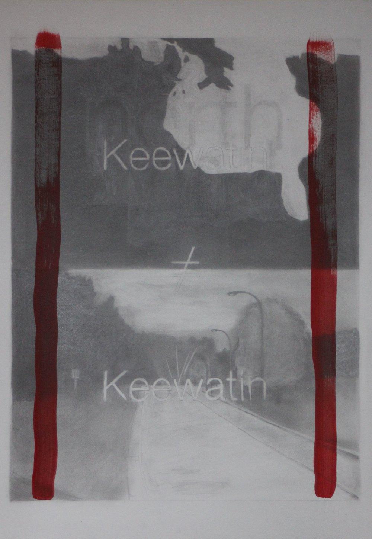 "keewatin≠keewatin,2012, graphite and acrylic on paper, 22"" x 30""."