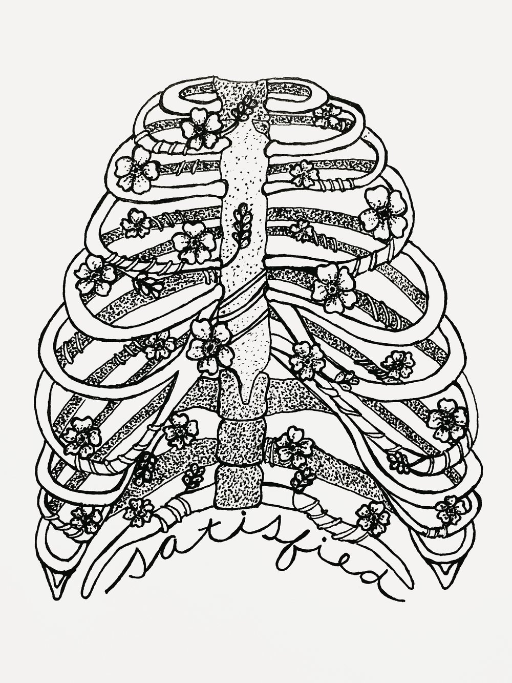 Ribcage with Forget-Me-Nots, Tattoo Design