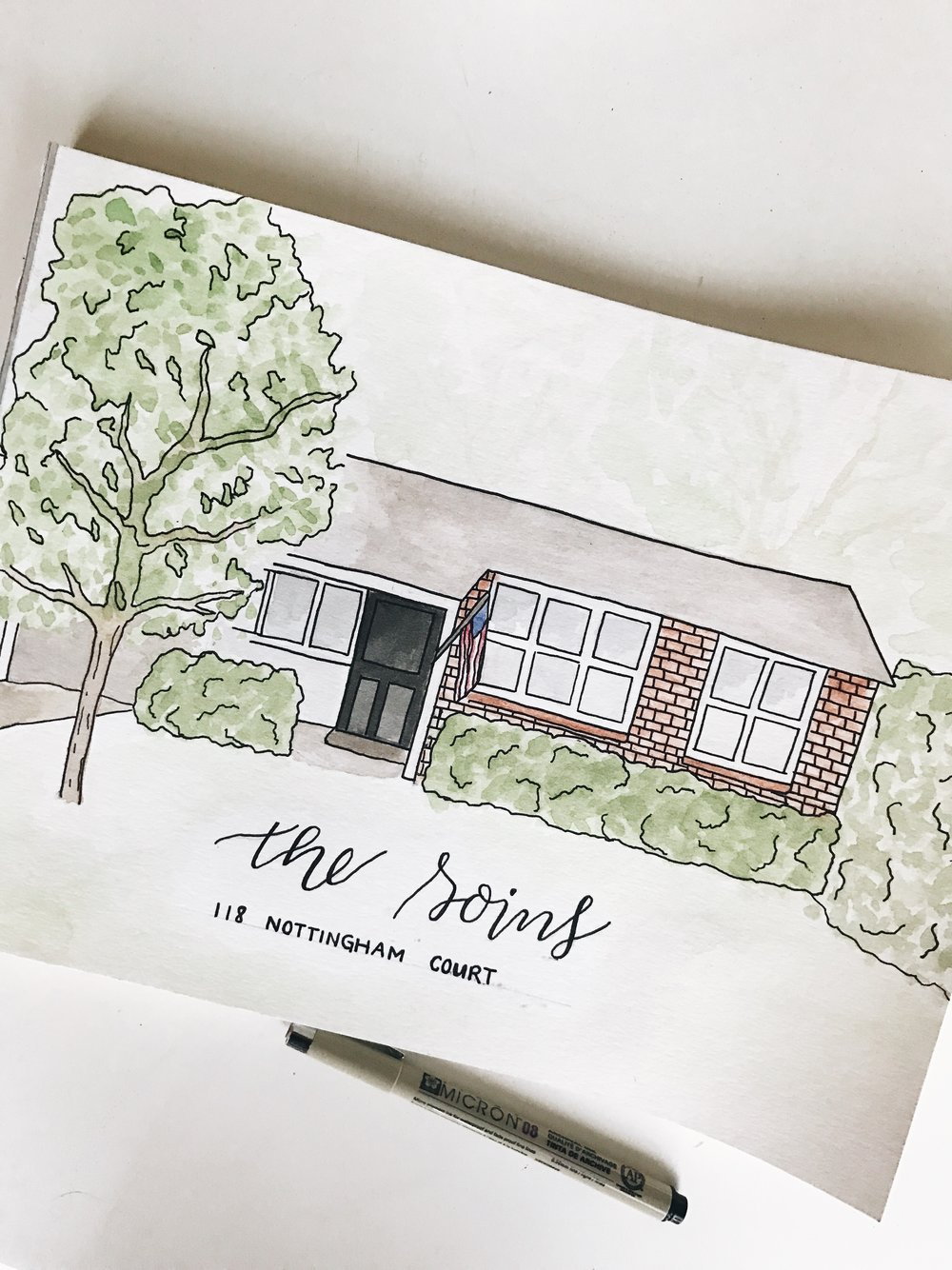Commissioned Watercolor Home